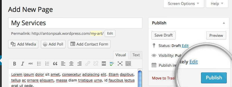 How to publish WordPress page